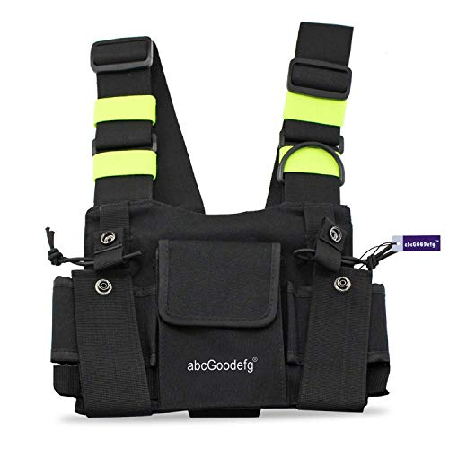 abcGoodefg Radio Chest Harness Pack Front Pocket Pouch Bag Holster EMS Vest Rig with Reflective Fluorescent Green Band for Two Way Radio Walkie Talkie (Rescue Essentials)