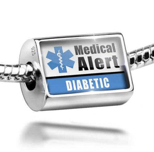 Sterling Silver Charm Medical Alert Blue Diabetic - Bead Fit All European Brace