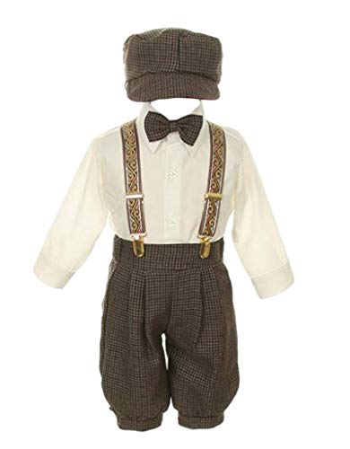 SK Vintage Dress Suit-Bowtie,Suspenders,Knickers Outfit Set for Baby Boys & Toddler, Houndstooth White , 12 Months - Victorian Western Hat Style Cowboy