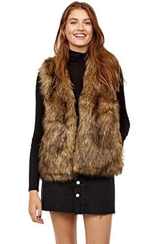 Edary Women Faux Fur Vest Brown Vintage Warm Waistcoat Sleeveless Jacket (XXL) ()