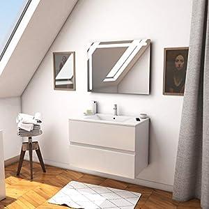 Aurlane Ensemble Meuble de Salle de Bain Blanc 60 cm Suspendu 2 tiroirs + Vasque ceramique Blanche + Miroir