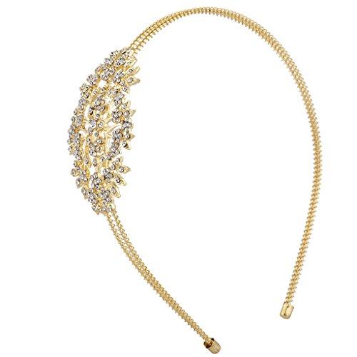 Pave Rhinestone Flower (Lux Accessories Gold Tone Crystal Pave Rhinestone Floral Flower Coil Headband)
