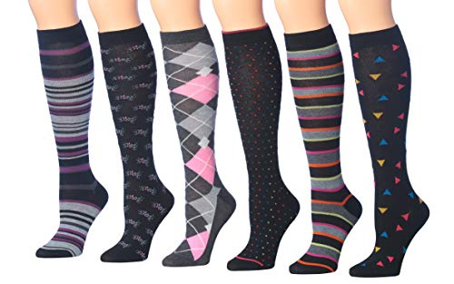 Tipi Toe Women's 6-Pairs Colorful Patterned Knee High Socks (KH171)