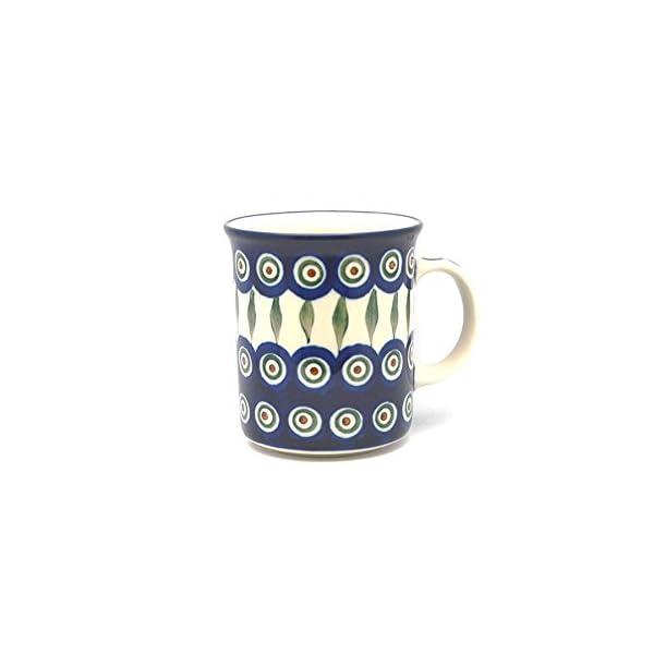 Polish Pottery Mug – Big Straight Sided – Peacock