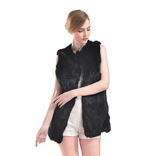Genuine Rabbit Fur Vest (OLLEBOBO Women's Elegant Genuine Rabbit Fur Vest without Belt Size 2XL Black)