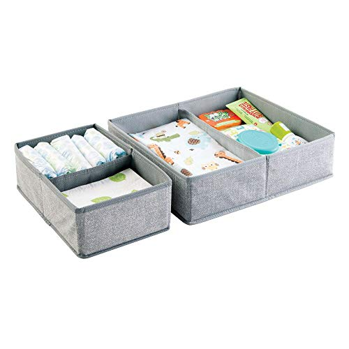 mDesign Soft Fabric Dresser Drawer and Closet Storage Organizer Set for Child/Kids Room, Nursery, Playroom, Bedroom - Rectangular Organizer Bins with Textured Print - Set of 2 - Gray