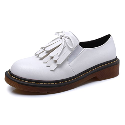 Smilun Lady¡¯s Brogues Classic Lace-up Flats Shoes for Autumn Winter Spring Slip On White Size 10 B(M) US by Smilun (Image #1)