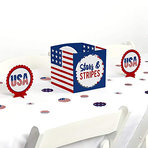 Big Dot of Happiness Stars and Stripes - Labor Day USA Patriotic Independence Day Party Centerpiece and Table Decoration Kit -