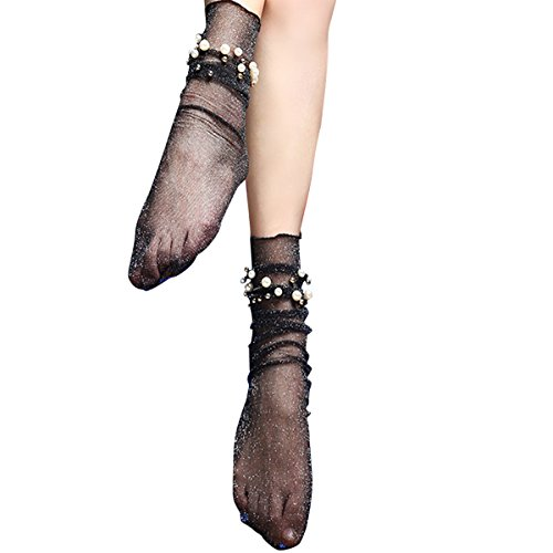 Women Socks, Winzik New Fashion Ultra-thin Elastic Net Transparent Silky with Pearl-like Short Silk Stockings Women Lace Ankle Socks (Black)