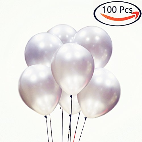 AZOWA Silver Latex Balloons 12 inch Party Balloon Decorations Pack of 100 Helium Balloons Great for Kids Adult Birthday Party Wedding Baby (Personalized Party Balloons)