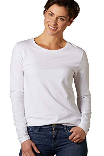 - Fair Indigo Fair Trade Organic Essential Long Sleeve Crew Neck Tee (S, White)