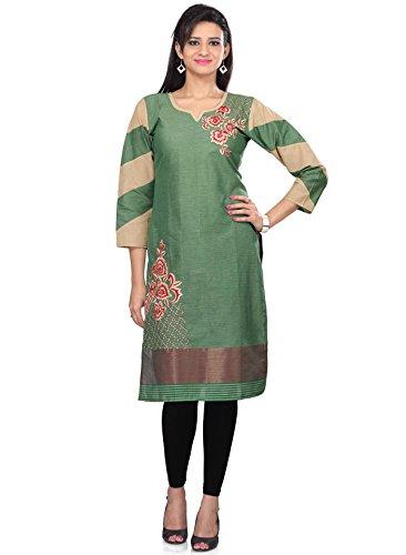 IndusDiva Women's Green Cotton Straight Cut Kurta
