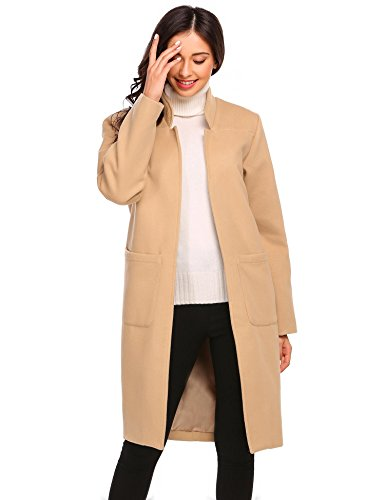 Women's Winter Solid Outerwear Open Front Long Wool-Blend Military Coat (Suede Fully Lined Shirt Jacket)
