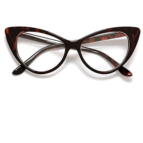 Super Cateyes Vintage Inspired Fashion Mod Chic High Pointed Cat-Eye Sunglasses (Tortoise - Glasses Eye Cat Shell Tortoise