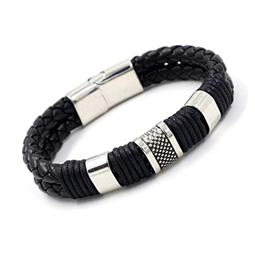 - LimiFas Fashion Jewelry Punk 2 Color Zinc Alloy Accessories Weave Genuine Leather Men Bracelet Male Bangles pulseras Hombre Black