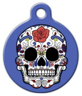 Blue Sugar Skull Pet ID Tag
