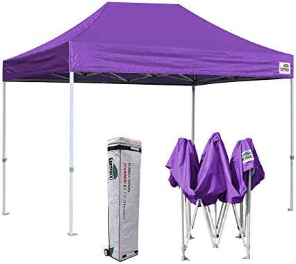 Eurmax 8 x 12 Ez Pop Up Canopy Party Tent Commercial Outdoor Instant Canopies Bonus Deluxe Wheeled Storage Bag Purple