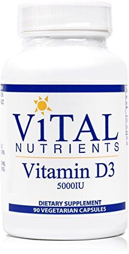Vital Nutrients - Vitamin D3 5,000 IU - Supports Calcium Absorption and Bone Health - 90 Capsules