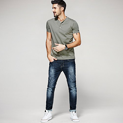 Men Casual T Shirt V Neck Short Sleeve Cotton Button Stylish Loose Slim Fit Sport Workout Outdoor Wear Gym Beach Party Hiking Travel Business Working Weekend Henley Shirts High Elasticity(MArmyGreen) by VAVE (Image #3)