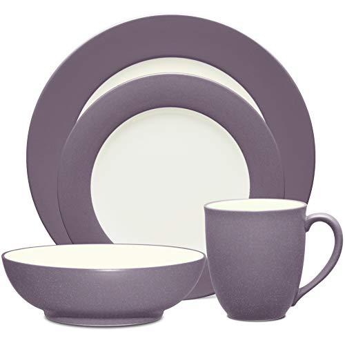 Noritake Colorwave Plum 4-Piece Rim Place Dinnerware Setting in Plum/Purple