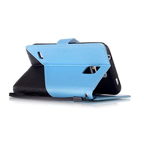Qiaogle Teléfono Case - Funda de PU Cuero Billetera Clamshell Carcasa Cover para Samsung Galaxy J1 Mini Prime / SM-J106F (4.0 Pulgadas) - YX34 / Negro + Dark Azul YX33 / Negro + Azul claro