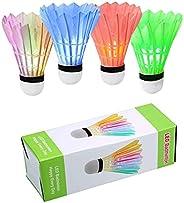 ZHENAN LED Badminton Shuttlecocks Dark Night Glow Birdies Lighting for Outdoor & Indoor Sports Activities