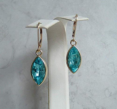 - Blue Simulated Turquoise Marquise Leaf Gold Filled Leverback Earrings Made With Swarovski Crystals Gift Idea