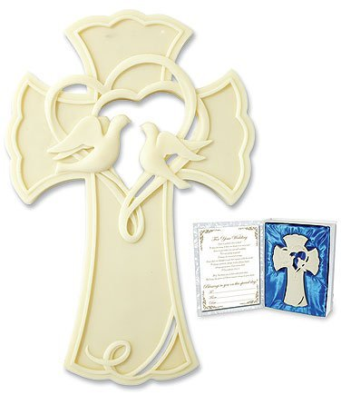 - Blessings on Your Wedding Day 7 1/2 Inch Resin Wall Cross with Cut Out Heart Dove Pair Design
