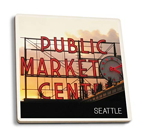 Lantern Press Seattle, Washington - Pike Place Market Sunset (Set of 4 Ceramic Coasters - Cork-Backed, Absorbent) ()