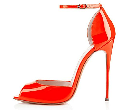 Alti Pompe Open Femminile Vestito Stiletto Arancione Tacchi Sandali Toe Aiweiyi Cinturino Alla Caviglia YESdwE
