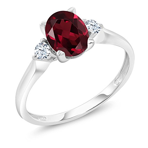 10K White Gold 1.45 Ct Red Rhodolite Garnet White Created Sapphire 3-Stone Ring (Ring Size 7) (Garnet Three Stone Ring)