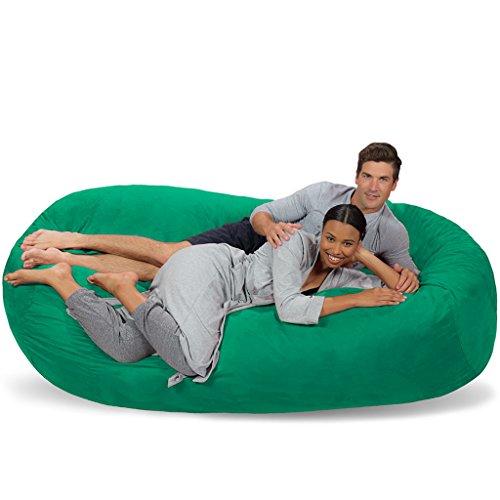 Comfy Sacks 7.5 ft Lounger Memory Foam Bean Bag Chair, Aqua Marine Micro Suede