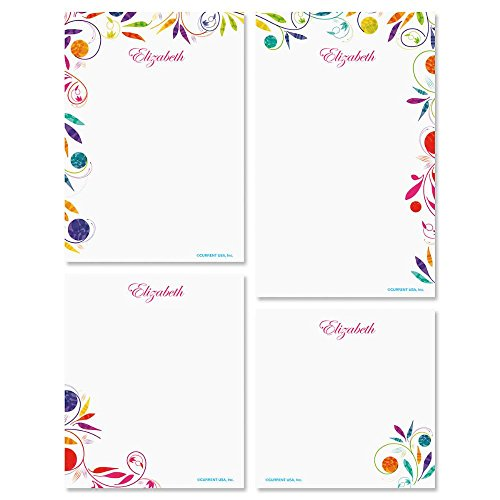 - Color Swirl Personalized Notepad Set - Set of 4
