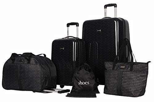 Steve Madden Signature 6 Piece Spinner Suitcase Set Collection (One Size, Black)