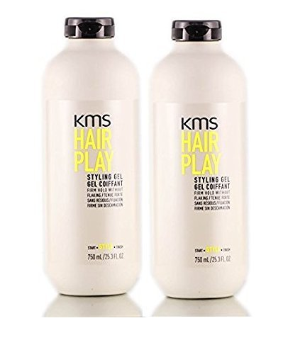 KMS HAIRPLAY Styling Gel Flake-Free Glossy Shine Firm Hold Long-Lasting Control, 25.3 oz (Pack of 2) by KMS