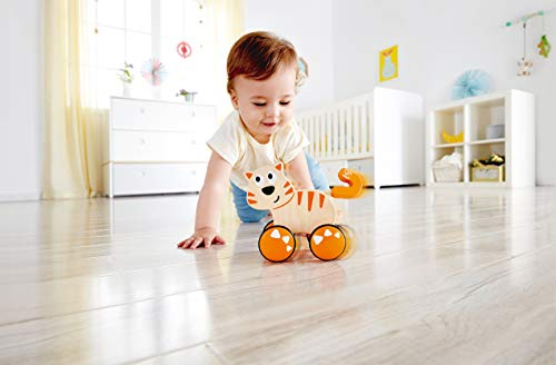 41FQrwQwZ7L - HapeDante Push and Go| Wooden Push, Release & Go Cat Toddler Toy with Wheels