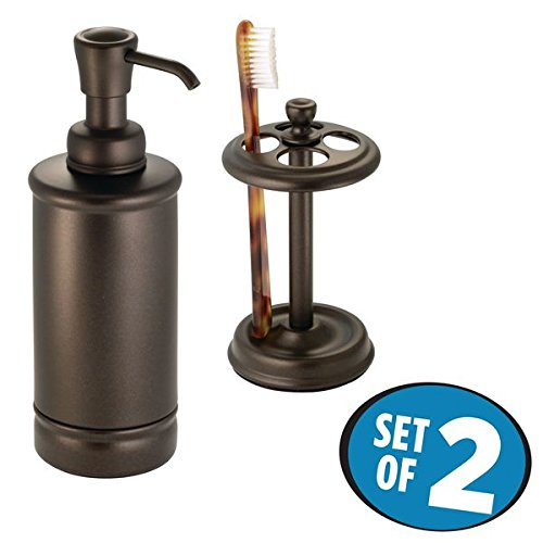 mDesign Metal Soap or Lotion Dispenser Pump and Toothbrush Holder Stand, 2 pc Bathroom Accessory Set - Bronze Finish - Accessories Toothbrush Holder