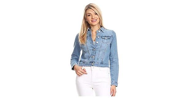 2 XL, Medium Wash Womens Long Sleeve Basic Denim Jacket #IF03