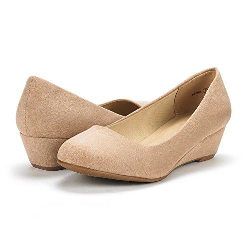 Dream Pairs Zapatos Para Mujer Debbie Mid Wedge Con Tacón En La Suela Nude Suede