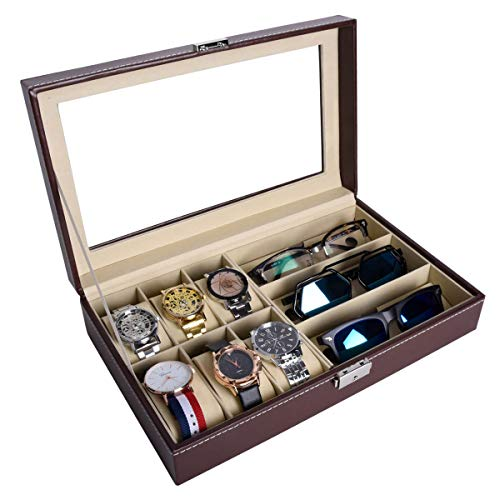 AUTOARK Leather 6 Watch Box Jewelry Case and 3 Piece Eyeglasses Storage and Sunglass Glasses Display Case Organizer,Brown,AW-020 (Brown Leather Eyeglass Case)