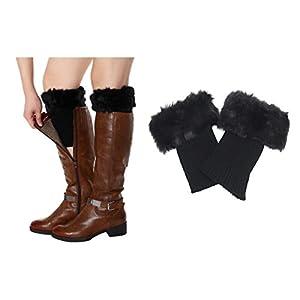 Women Leg Warmers Socks Fur Boot Cuff Short Socks as Xmas Present (Black)
