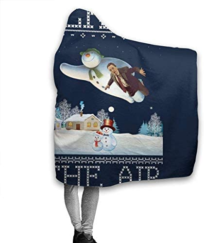 Couverture à capuche Christopher Walken in The Air Snow Man Christmas Knit Super Soft Fleece Flannel Throw Blanket Hoodie Fit Bed Sofa Wearable for Kids Women Men 60 'X50'