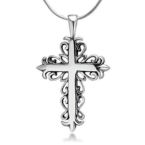 Chuvora 925 Oxidized Sterling Silver Fleur De Lis Filigree Design Cross Unisex Pendant Necklace, 18 inches
