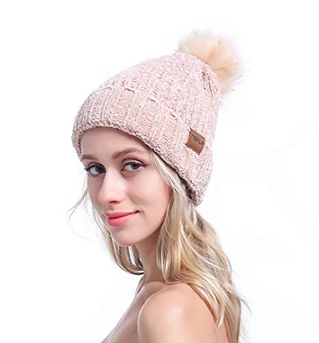 MEEFUR Womens Winter Pom Pom Beanie Crochet Adorable Trendy Hat Snow Knit Ski Bobble Cap Beige