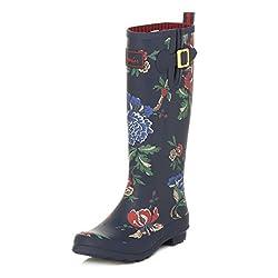 Joules Womens Navy Floral Print Wellington Boots-UK 7