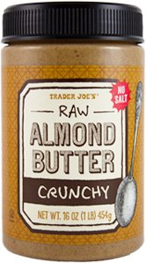 Trader Joe's - Raw Almond Butter Crunchy Unsalted 16 oz Jar