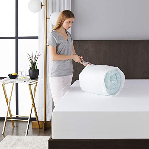 Sleep Innovations 4-inch Dual Layer Gel Memory Foam Enhanced Support, Queen, Made in The USA with a 10-Year Warranty Mattress Topper
