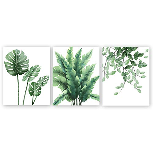 Unframed Tropical Green Leaves Art Print,Botanical Wall Art Painting,Signs of Nature Set of 3(8''x10'') Canvas Herb Plant Picture for Living Room Cafe Decor ()