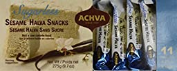 Achva Sugar Free SESAME Halva Snack Kosher Mini Bars 2 Packs, 11 Snacks, N.W. 9.7oz each pack