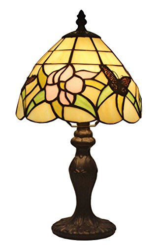 Amora Lighting Tiffany Style AM044TL08 Floral Mini Table Lamp, 8